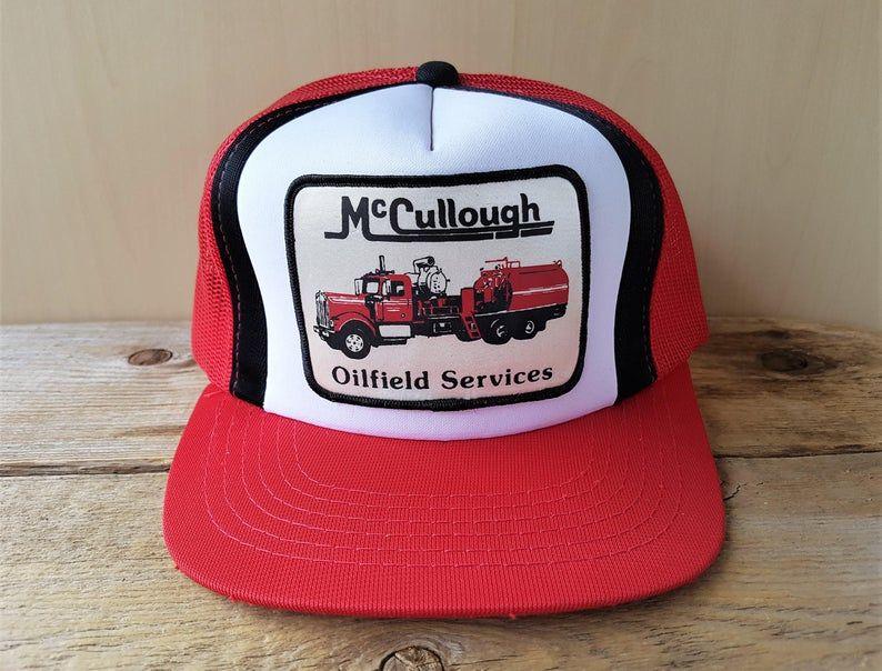 Mccullough Oilfield Services Vintage 80s Trucker Hat Red Mesh Snapback Baseball Cap Fuel Tanker Truck Lucky Stripe Patch Yupoong Ballcap Trucker Hat Mesh Trucker Hat Vintage Cap