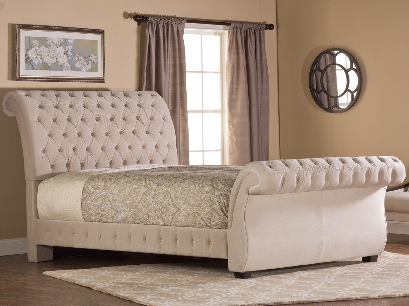 Bombay fabric upholstered bed in buckwheat by hillsdale for Upholstered beds