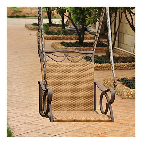 Found it at Wayfair - Valencia Wicker ResinSteel Hanging Single Patio Chair Swing