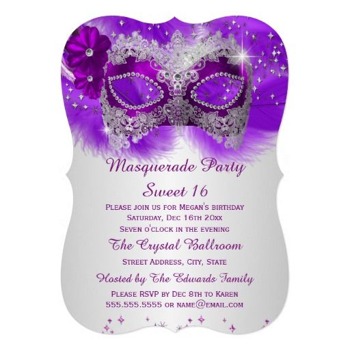 Sweet 16 Lace Mask Purple Silver Masquerade