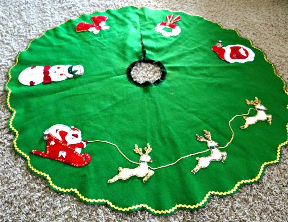 Vintage Handmade Green Felt Christmas Tree Skirt