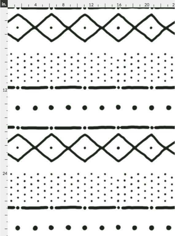 African Tribal Wallpaper Mudcloth Ii In Black On White By
