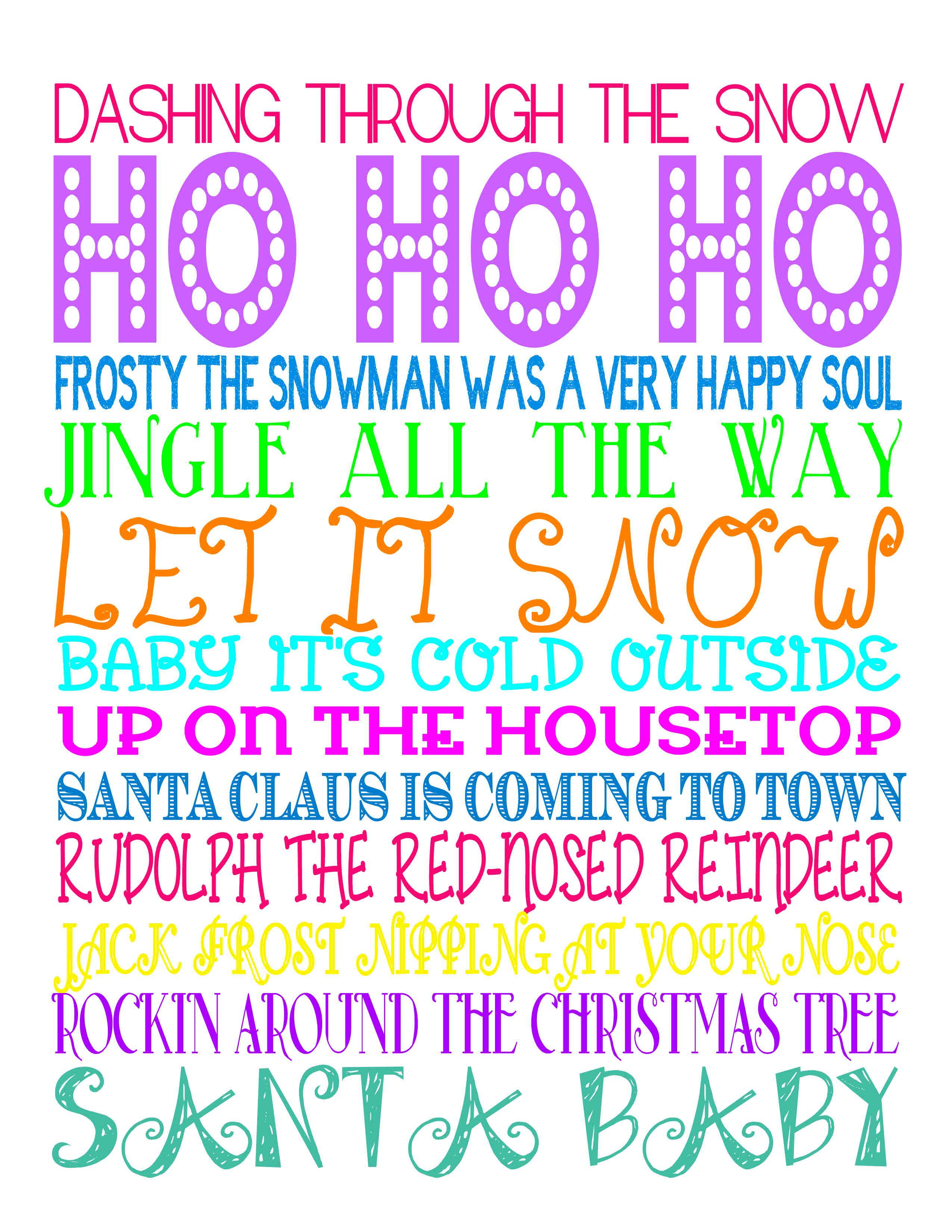 Cute christmas songs subway art free printable www cute christmas songs subway art free printable giggleandprint pronofoot35fo Image collections
