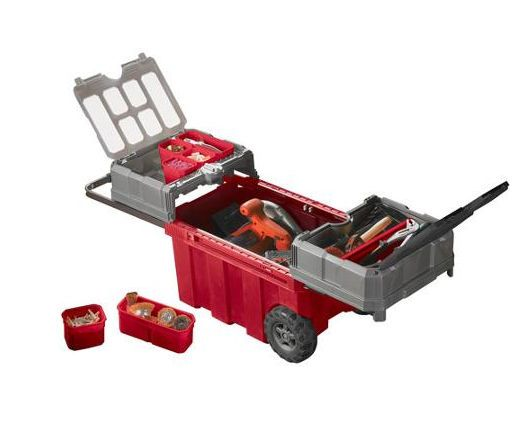 Keter Portable Rolling Tool Box Storage Cart Chest Cabinet