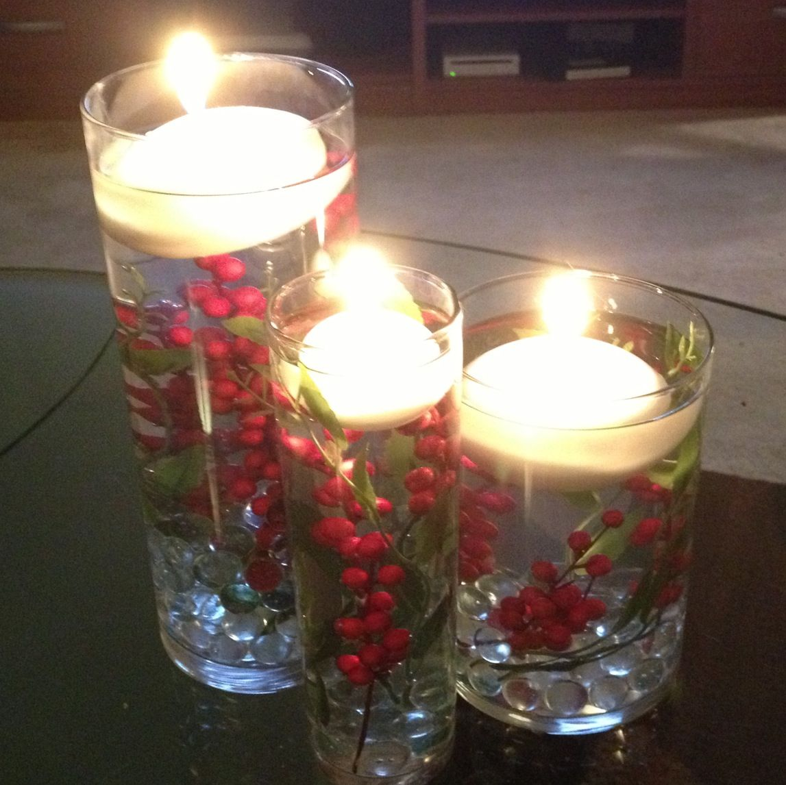 Fall Floating Candle Centerpieces: Floating Candle DIY Holiday Centerpiece!