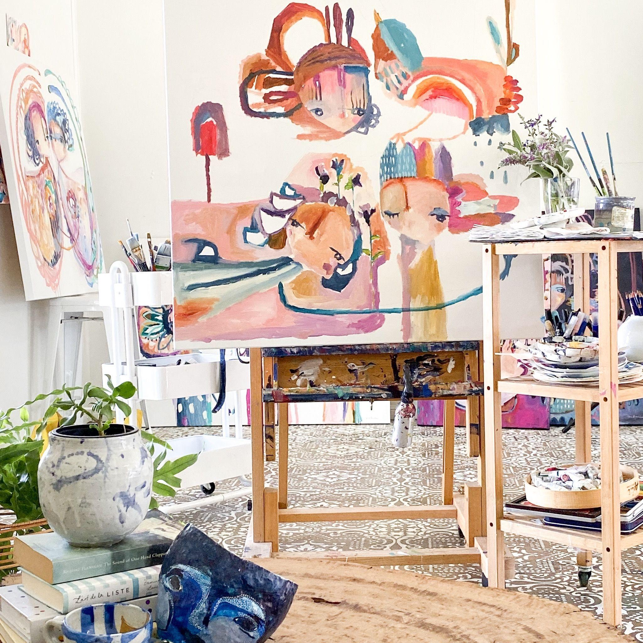 In progress 🎨 Contemporary australian artists, Canvas