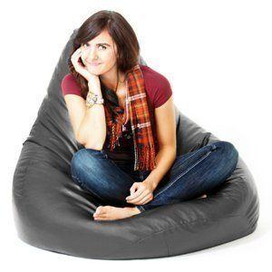 Black Faux Leather Beanbag Gamer Chair Adult Gaming Bean Bag XXL Seat