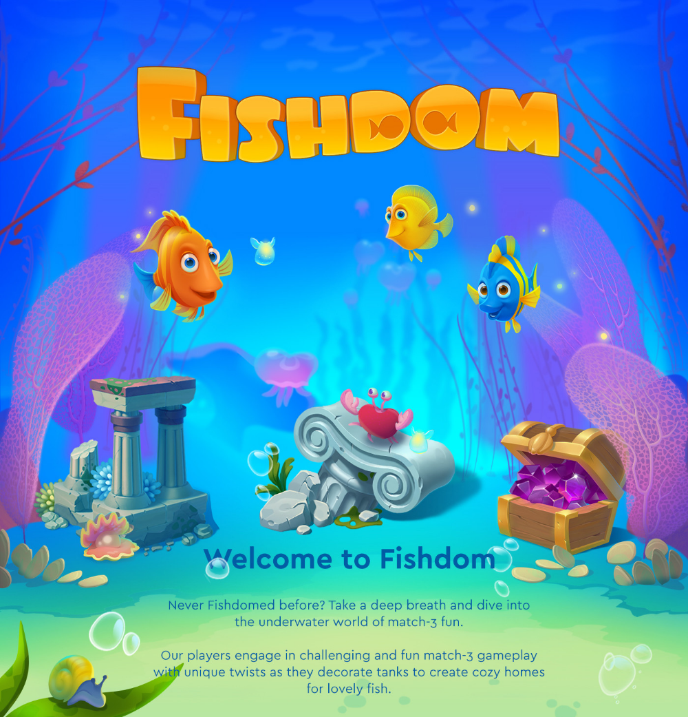 ArtStation Fishdom project overview, Playrix Games in
