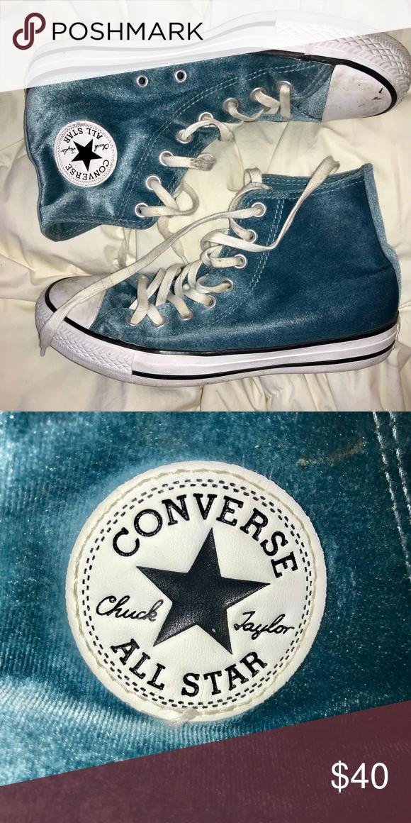 Blue Velvet Converse High Tops -lightly