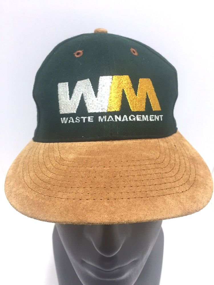 new concept 313c6 d130c Waste Management WM Hat Green Brown Suede Leather Slideback Baseball Cap   Otto  BaseballCap