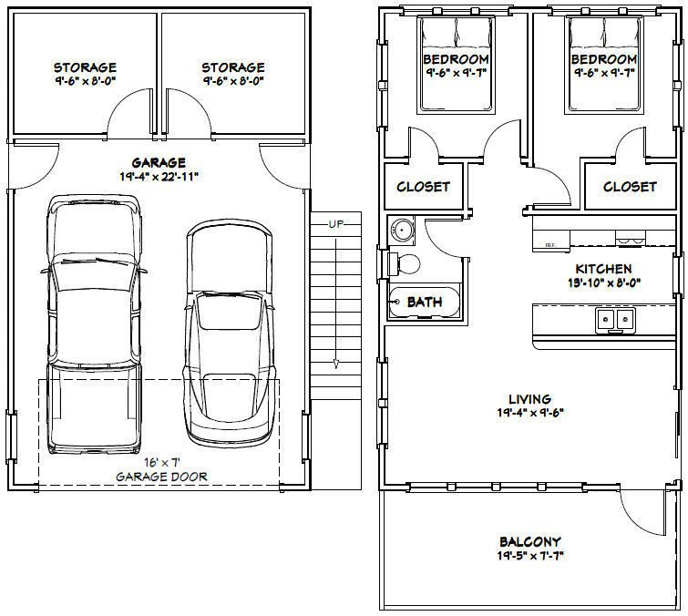 The Ideas Of Using Garage Apartments Plans: 20x32 House -- 2 Bedroom -- 4:12 Roof Pitch -- PDF Floor