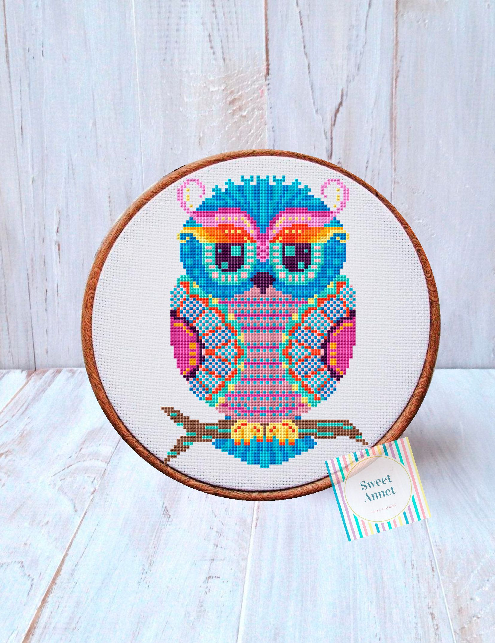 Counted Cross Stitch Pattern Three owls Paper version or PDF Files.