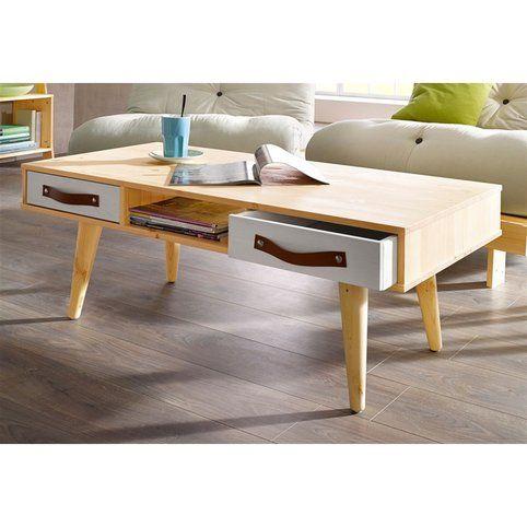 Table Basse Design Scandinave 2 Tiroirs En Pin Massif Karup Bois