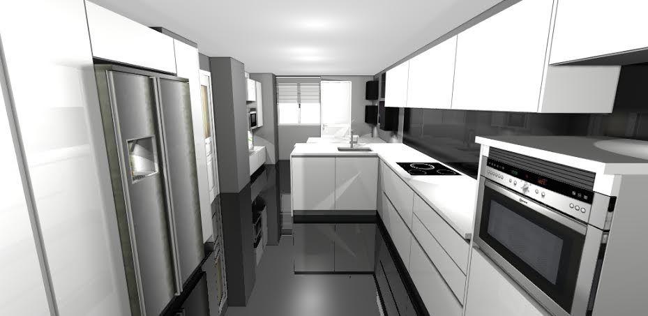 cocinas estrechas en las que se aprovecha todo el espacio y se juega con colores