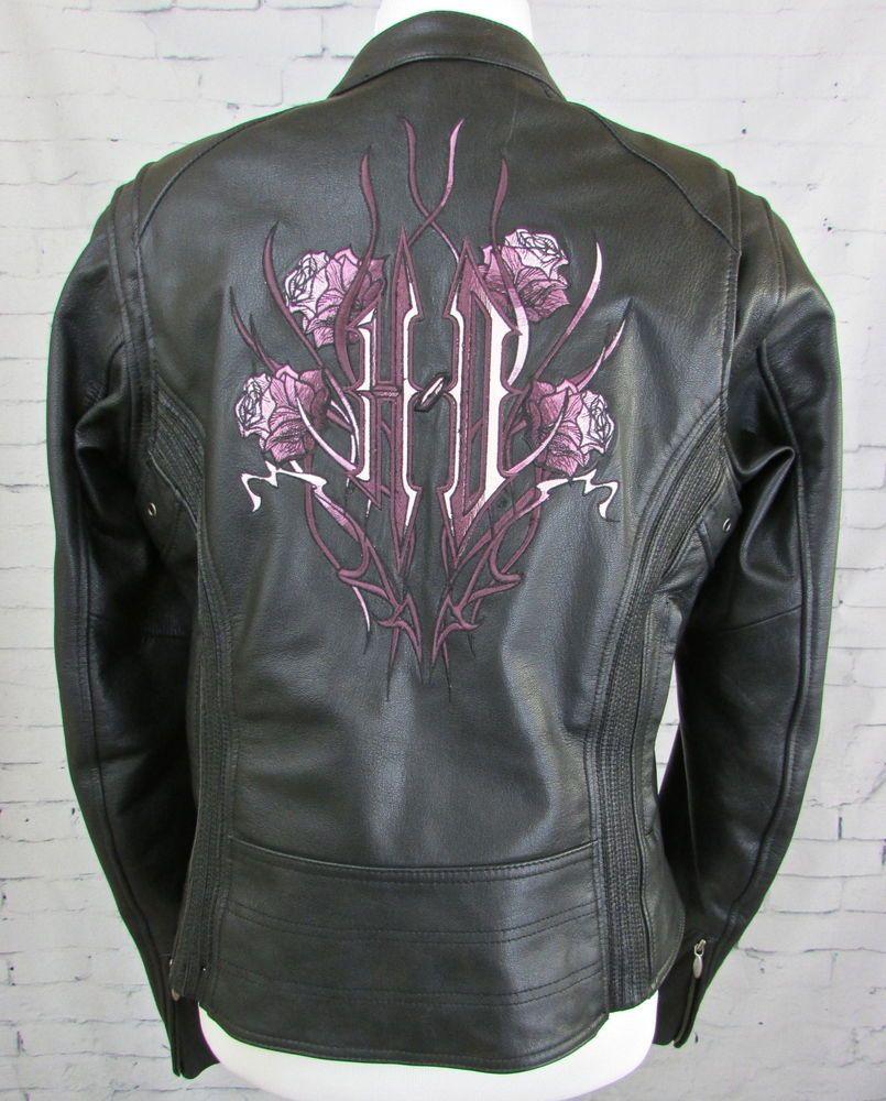 Leather jacket with roses - Woman S Harley Davidson Freedom Rider Leather Jacket Purple Roses Size Medium Harleydavidson Motorcycle