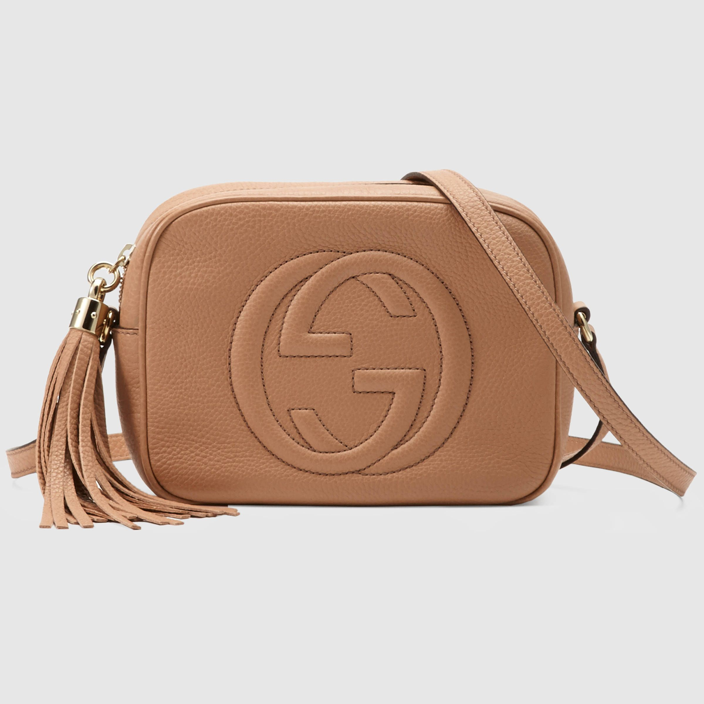 soho small leather disco bag arm candy gucci disco bag, guccigucci women soho leather disco bag rosè beige leather $980 308364a7m0g2754