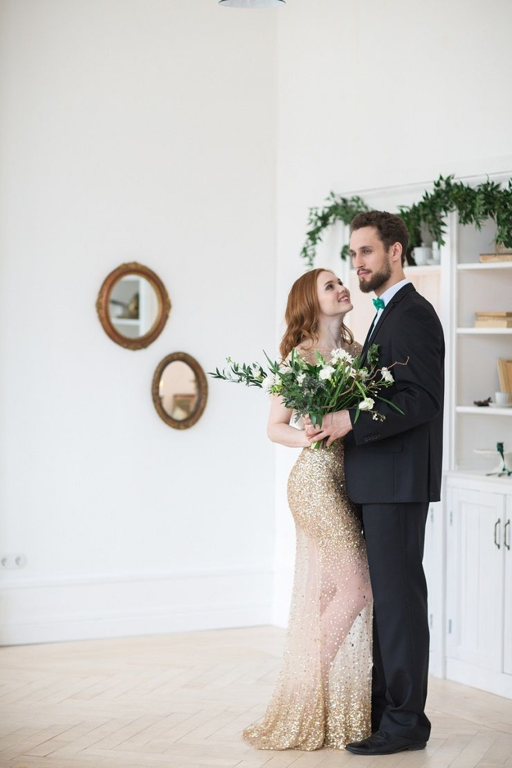 Bride and groom wedding photo | Glittering Gold Wedding Dress | fabmood.com #wedding #weddingstyledshoot #weddingphotos #weddinginspiration #weddingphotography #fineartwedding #fairytalewedding