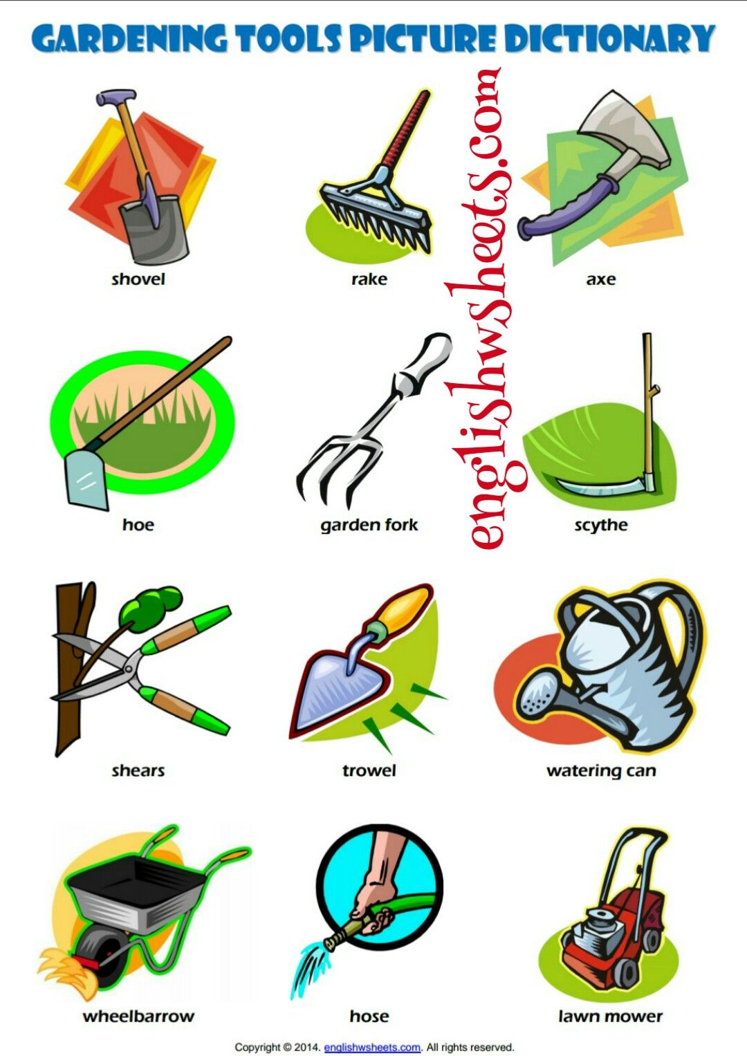 Gardening Tools Vocabulary Matching Worksheet