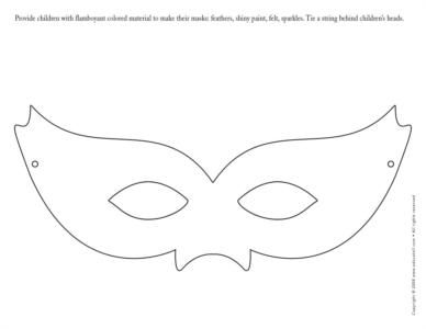 Template for masks that guests can decorate upon arrival #
