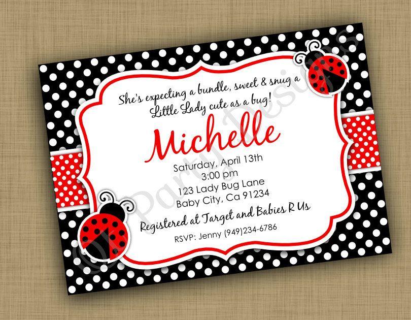 Printable Baby shower Ladybug Invitation (DIGITAL FILE) | Ladybug ...