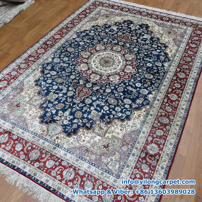 X Persian Rug Silk Face And Fringe Handmade Made By Yilong Carpet