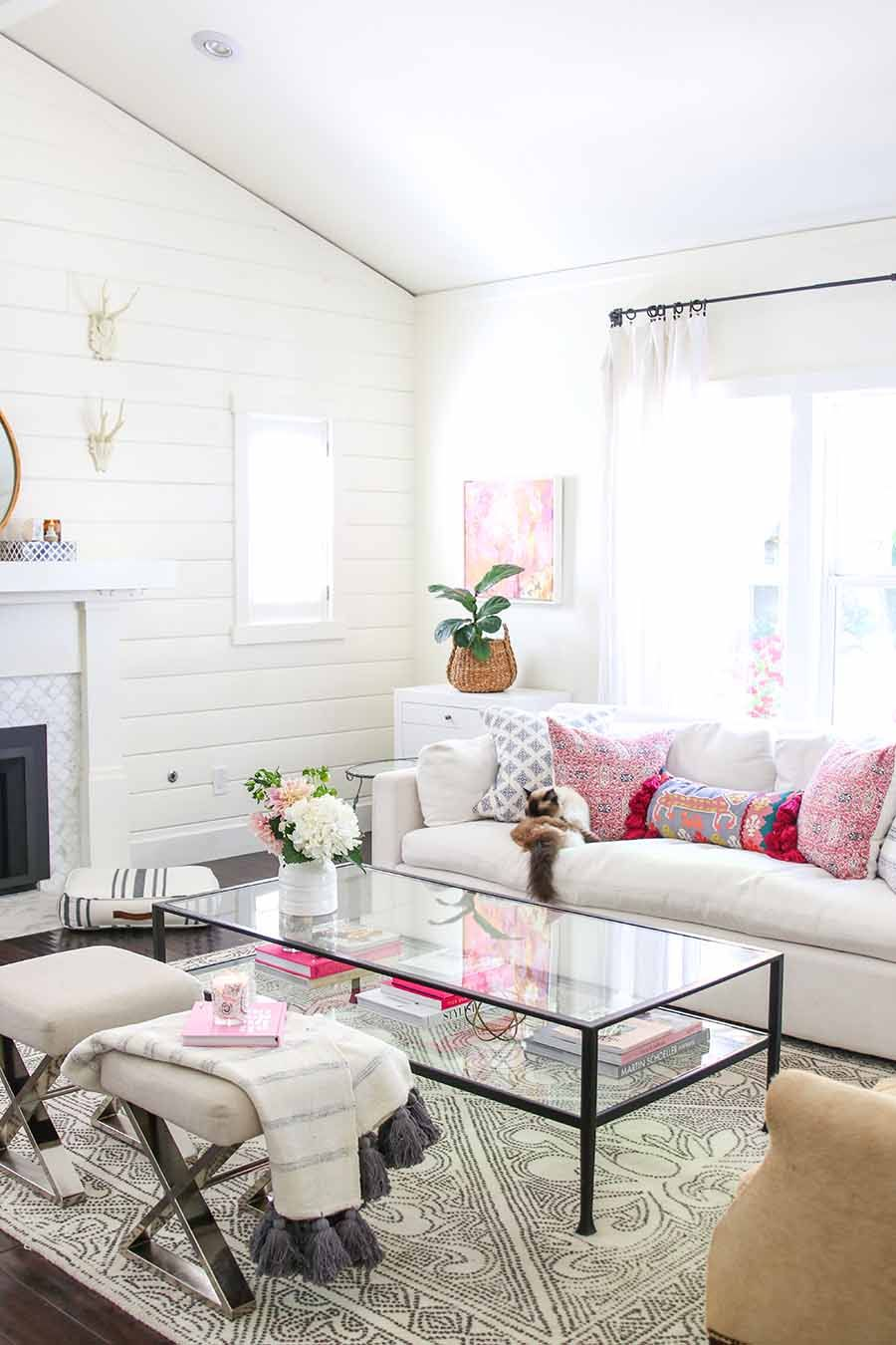 Simple Summer Decorating Updates To My Home Summer Living Room Glam Living Room Modern Glam Living Room Summer living room decor