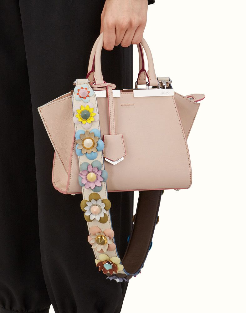 7220b6f6 FENDI STRAP YOU - Shoulder strap in white leather with flowers ...