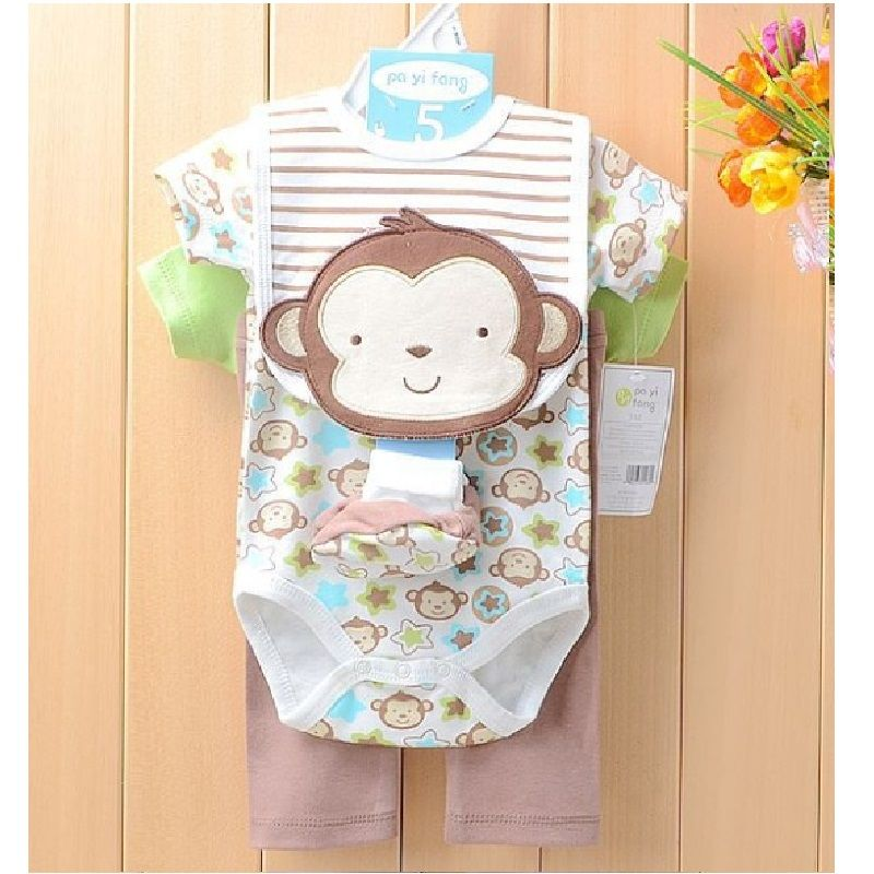 4fa05c3c7f6f Click to Buy    Monkey Baby Boys Clothes Suits 5 pieces Set Baby ...