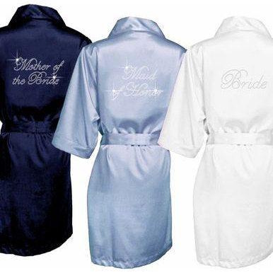 Burgundy Satin Kimono Bridesmaid Robes, Monogrammed Robes, Embroidered Robes,  Wedding Day Robes,