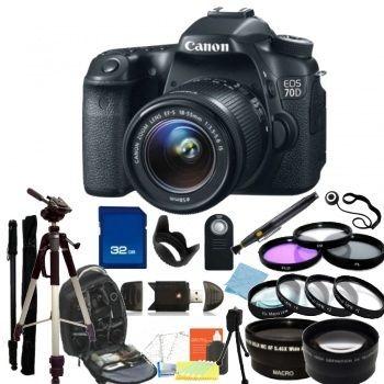 Canon EOS 70D DSLR Camera with 18-55mm f/3.5-5.6 Lens + Accessory Bundle