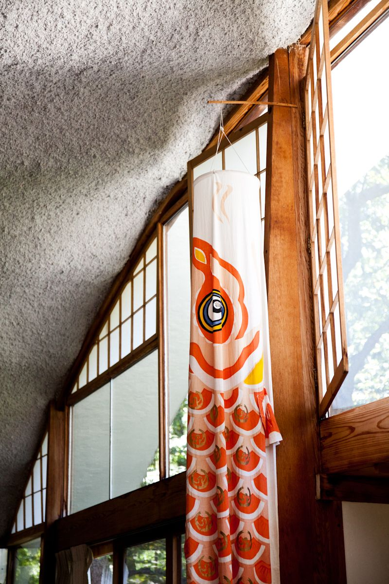 Koi no bori hung inside the house
