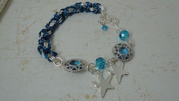 Turquoise Byzantine Swarovski Crystal Starfish by PmBSparklesLinks, $7.00