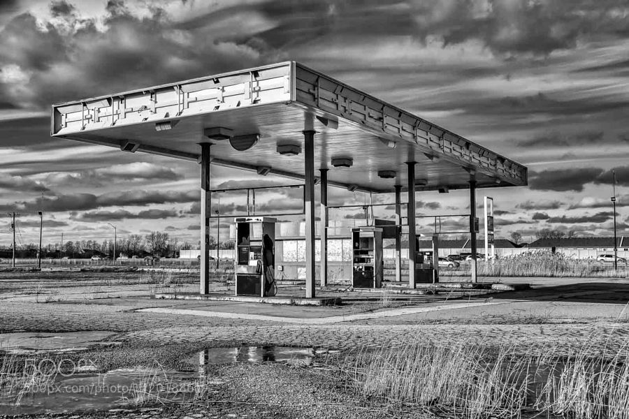 Stop 50 Gas Station Abandoned B&W by OrtBaldauf