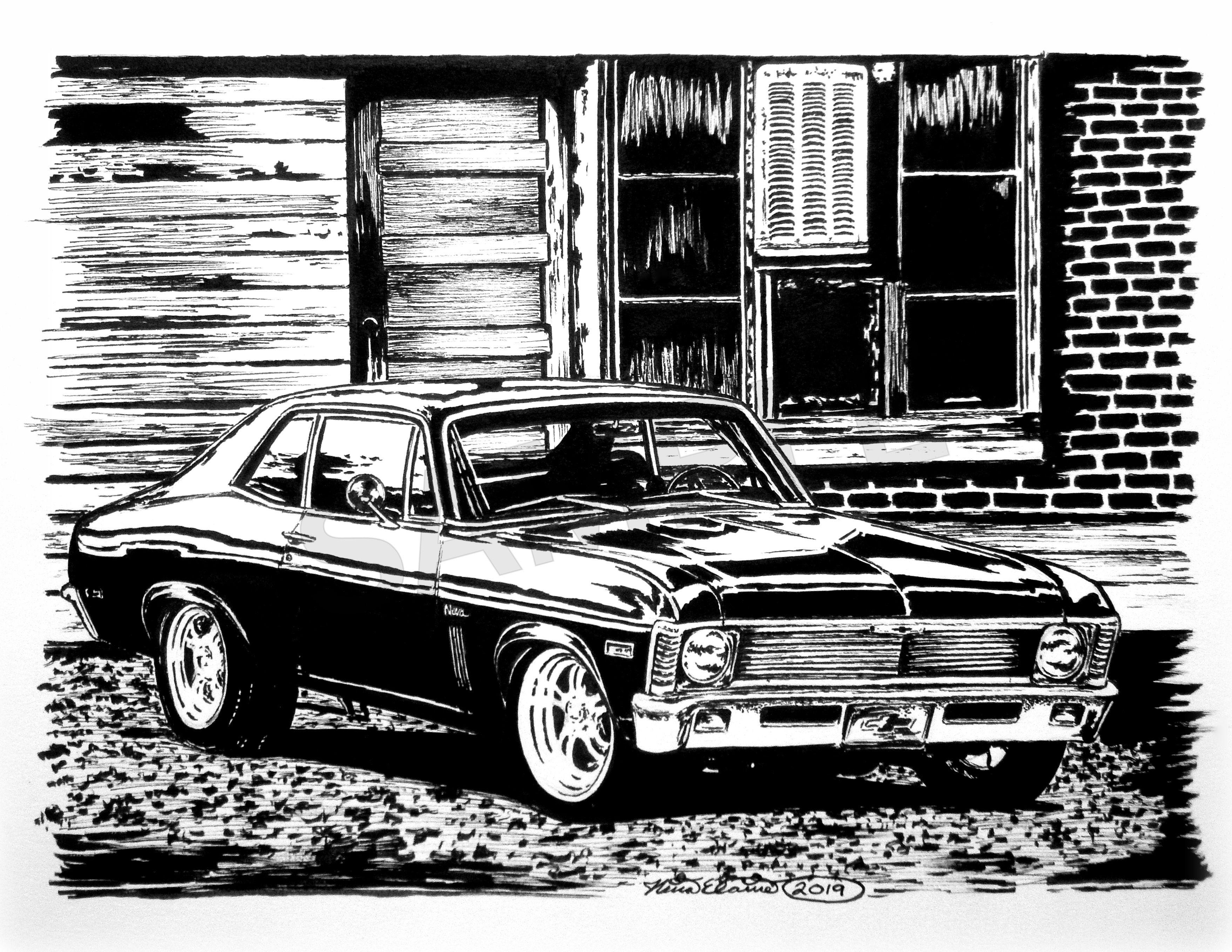 68 72 X Body Nova Ink Artwork By N E Thompson Art Print From