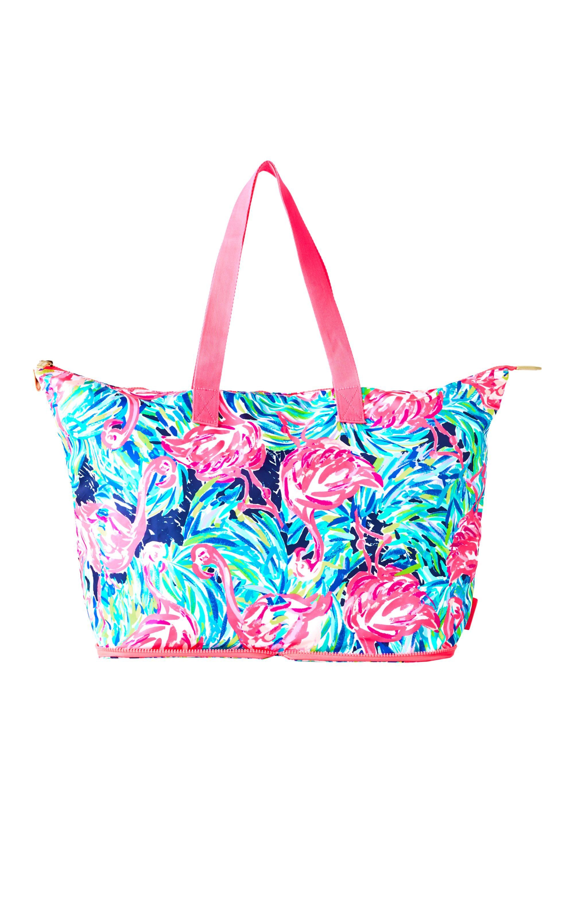 Lilly Pulitzer Getaway Packable Tote Multi Flamenco Beach Lillypulitzer Bags Travel Polyester