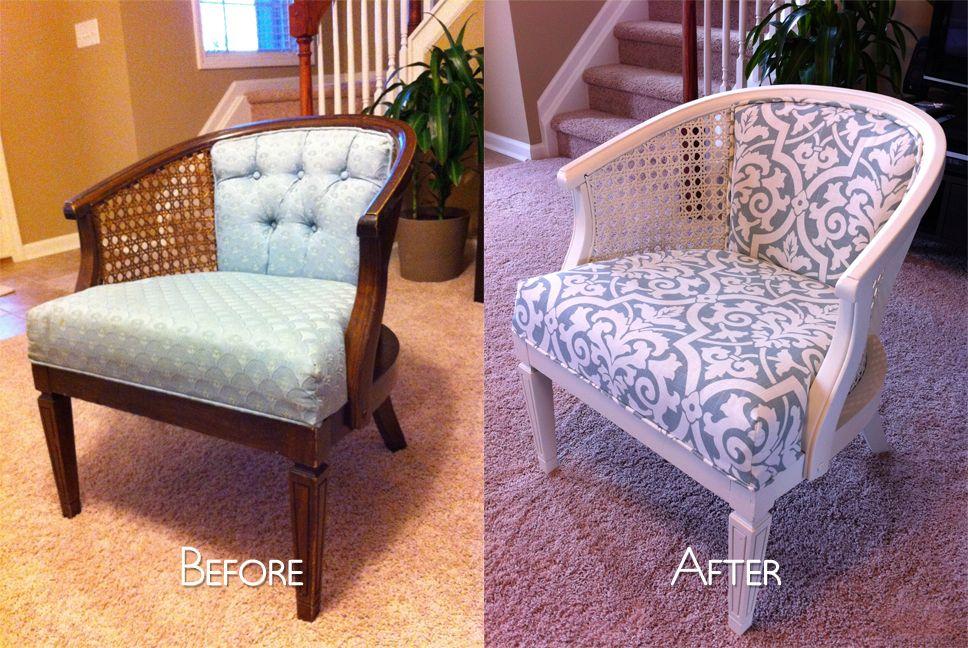 Cane Chair Reupholster DIY