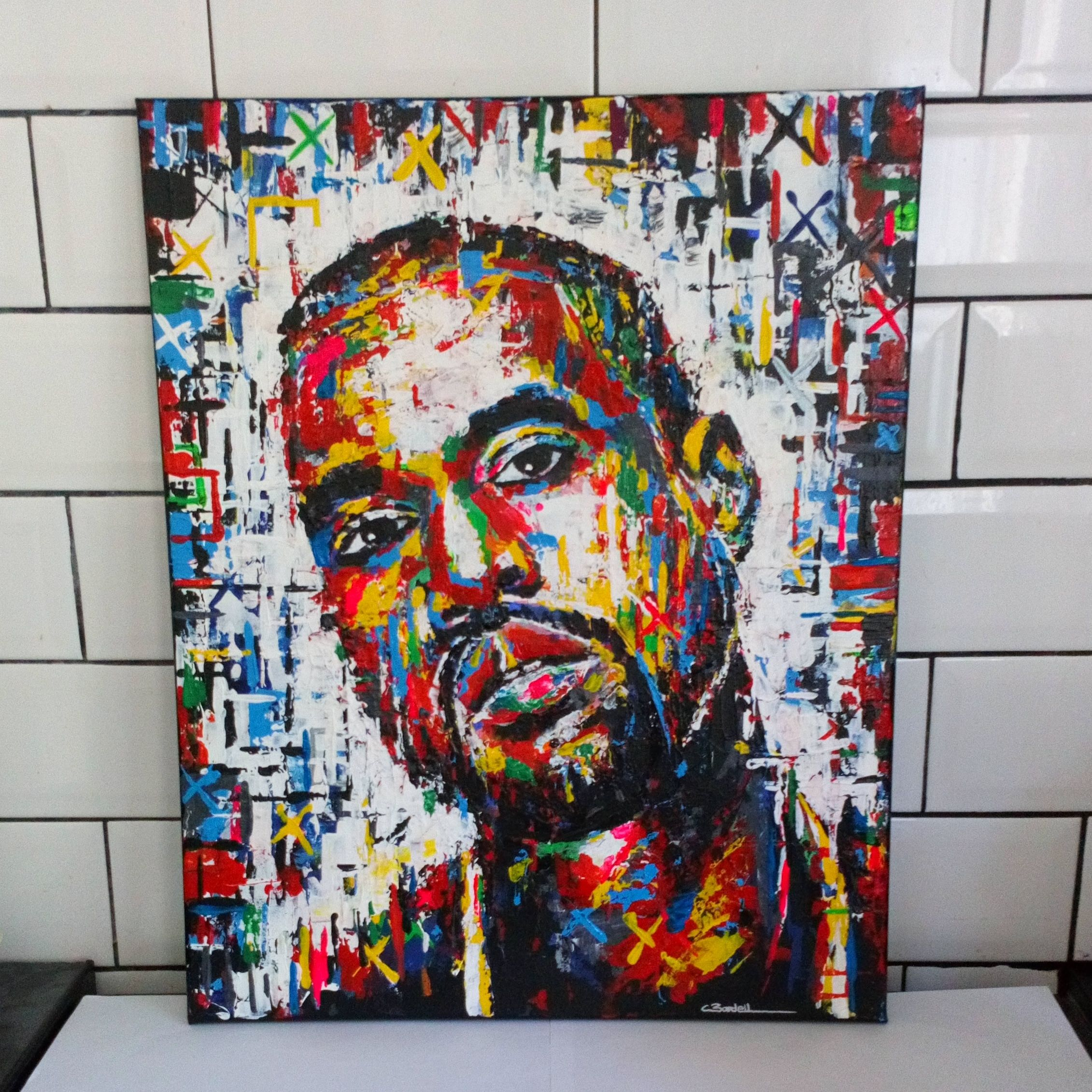 Kanye West Original Canvas Painting Acrylic Chrisbardellartist Artwork Hiphop Rap Rapper Poster Illustration Tattoo Painting Painting Gallery Canvas Painting