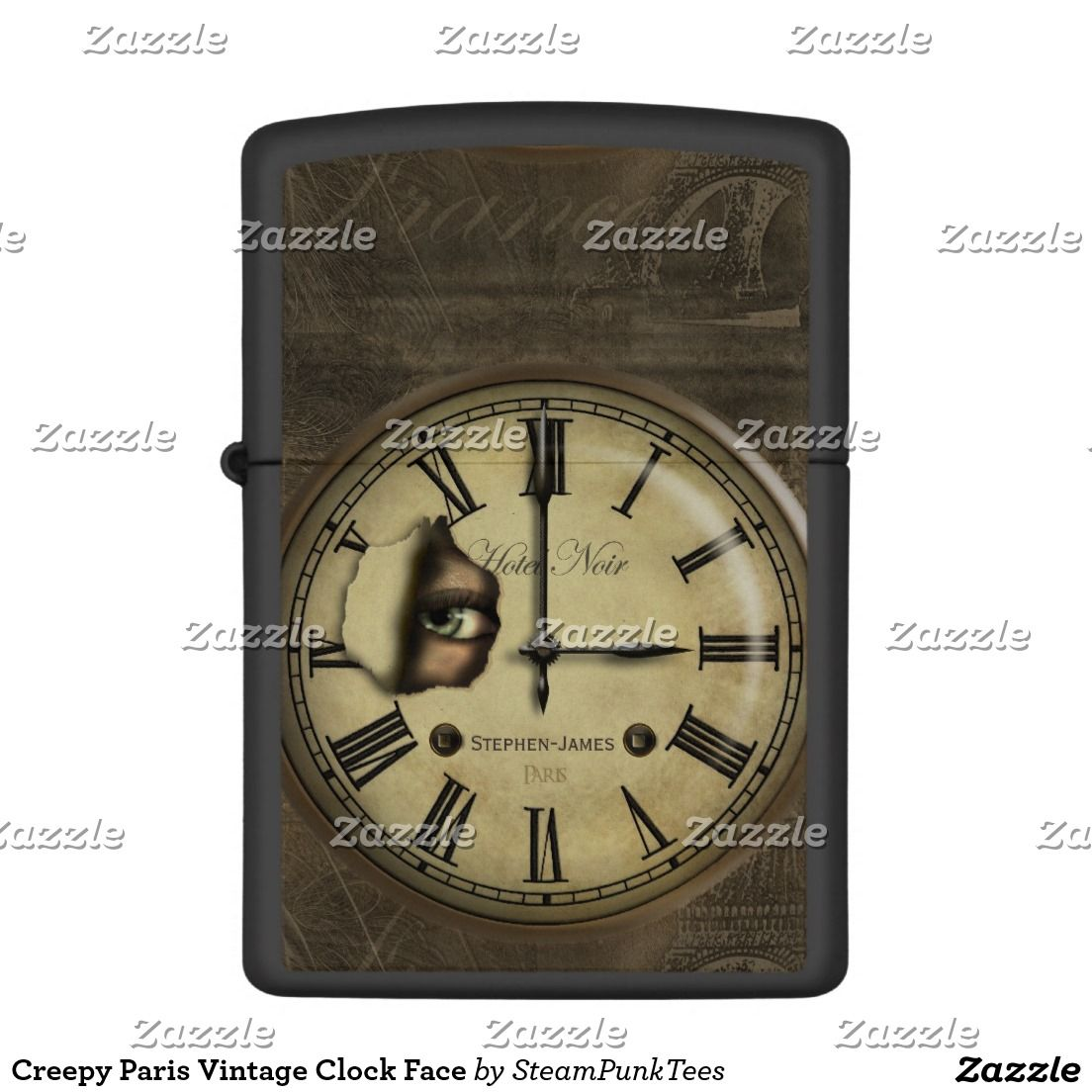 Creepy Paris Vintage Clock Face Zippo Lighter Zazzle Com Zippo Lighter Vintage Clock Zippo