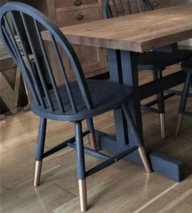 Update Dining Chairs Paint Navy W Gold Dipped Legs Dining