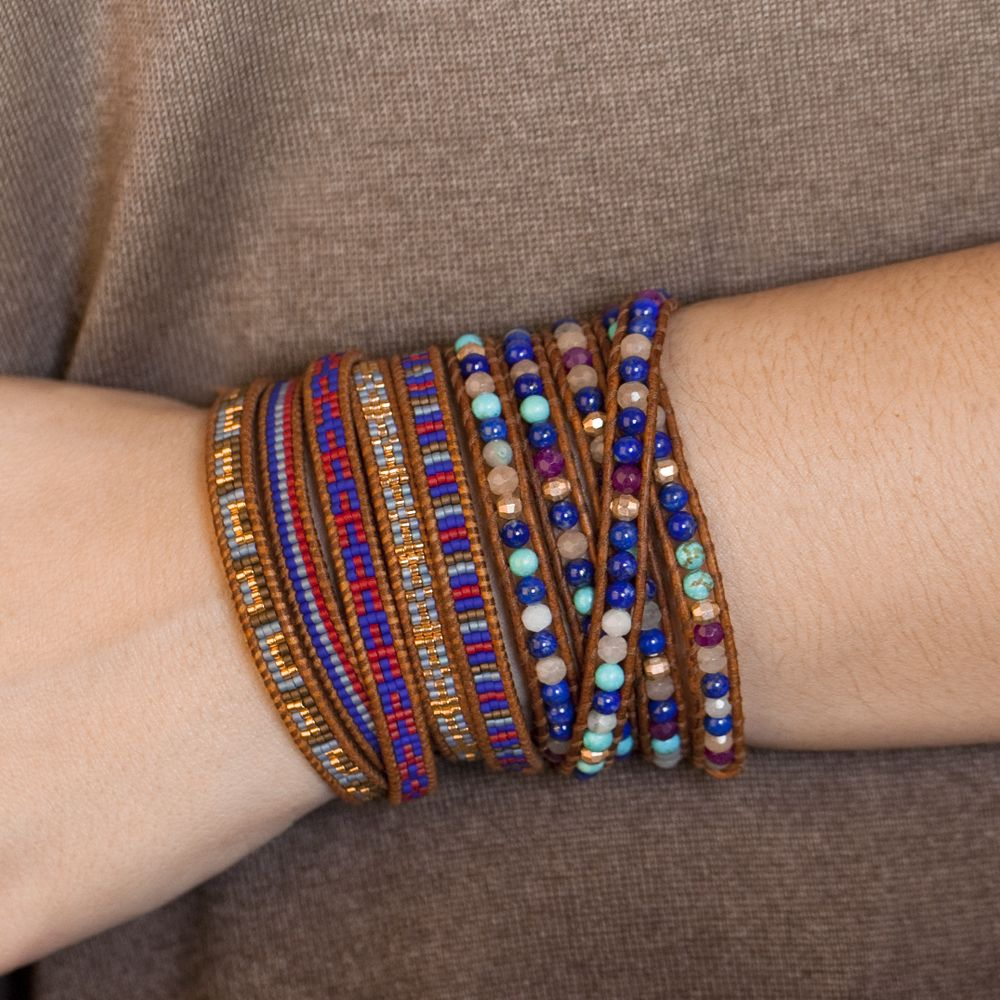 Chan Luu - Lapis Mix Stone Wrap Bracelet on Natural Brown Leather, $198.00 (http://www.chanluu.com/wrap-bracelets/lapis-mix-stone-wrap-bracelet-on-natural-brown-leather/)
