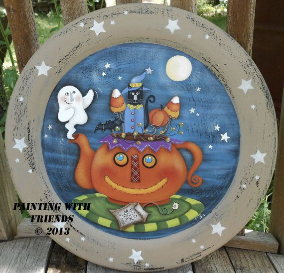 Items similar to OOAK Halloween Primitive Hand Painted Wood Plate Pumpkin Tea Pot Boo Brew Terrye French Painting With Friends on Etsy : primitive wooden plates - pezcame.com