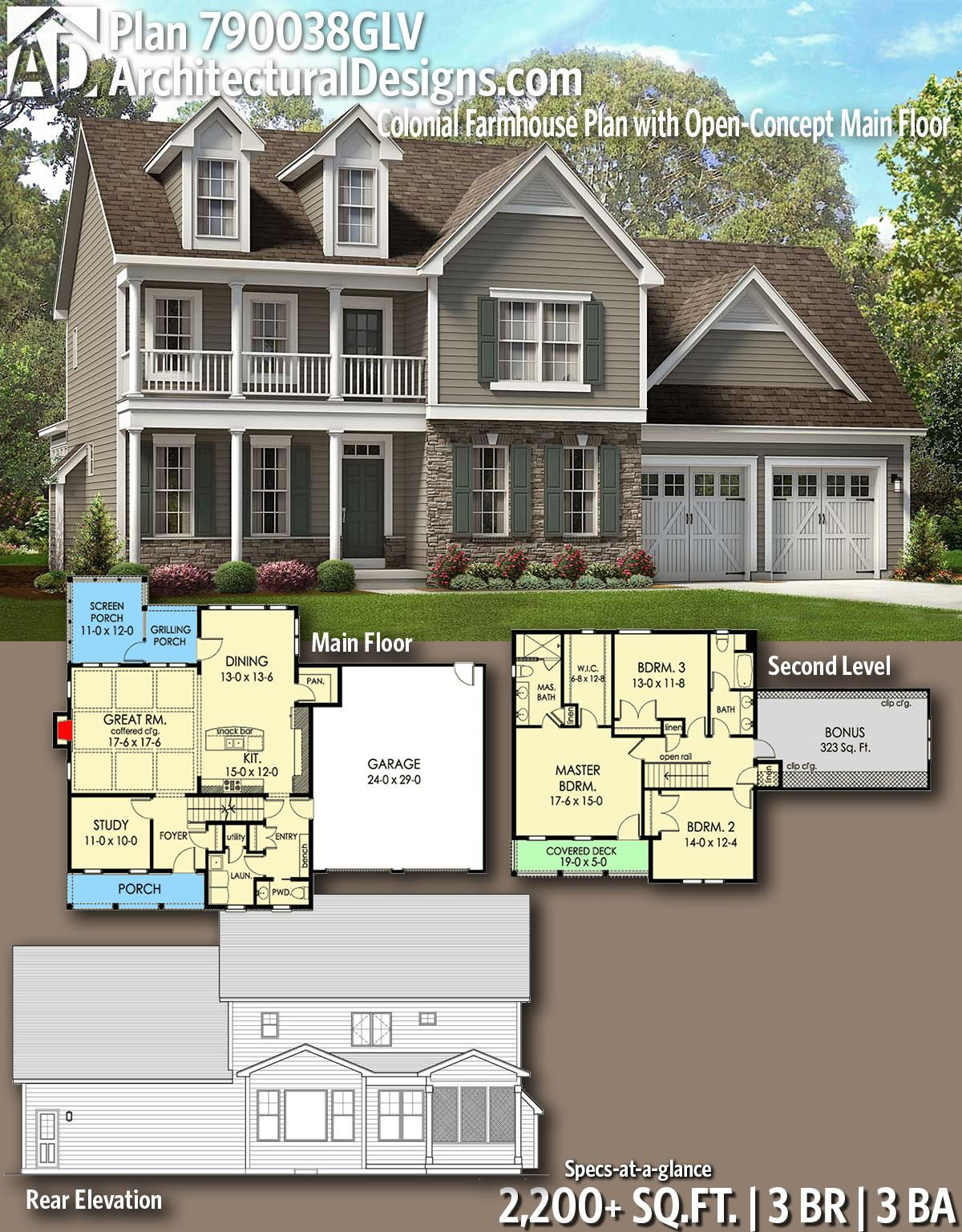 Plan 790038glv Colonial Farmhouse Plan With Open Concept Main Floor Basement House Plans Sims House Plans House Plans Farmhouse