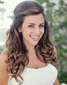 Brides Side Part Twist Half Up Long Soft Curls Bridal Hair Ideas Toni Kami Wedding Hairstyles If I Do It Down