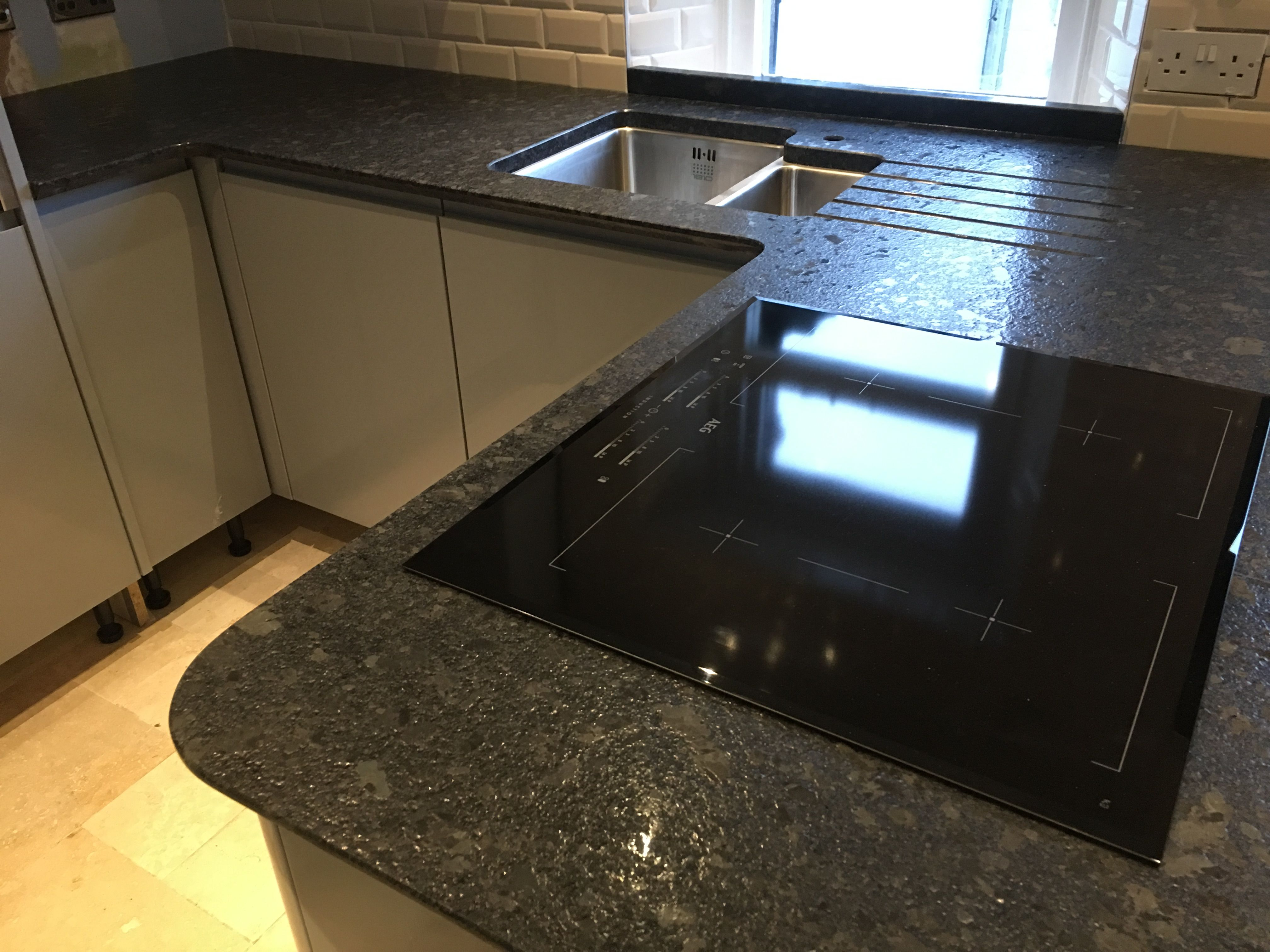 Steel Grey Granite Worktops With A Lepatura Texture In A Light Grey Kitchen On The Wirral Granite Worktop Kitchen Granite Kitchen Light Grey Kitchens