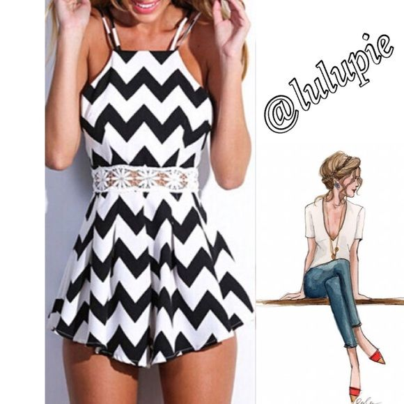 """Sexy Black and White Romper Sexy Chevron Black and white romper with adjustable spaghetti straps.  Measurements (approx)  Bust: 35.43"""" Waist: 27.56"""" Length: 31.30""""  Material: polyester and lace   Mannequin is a size 2. Comes in manufacturing package Boutique Pants Jumpsuits & Rompers"""