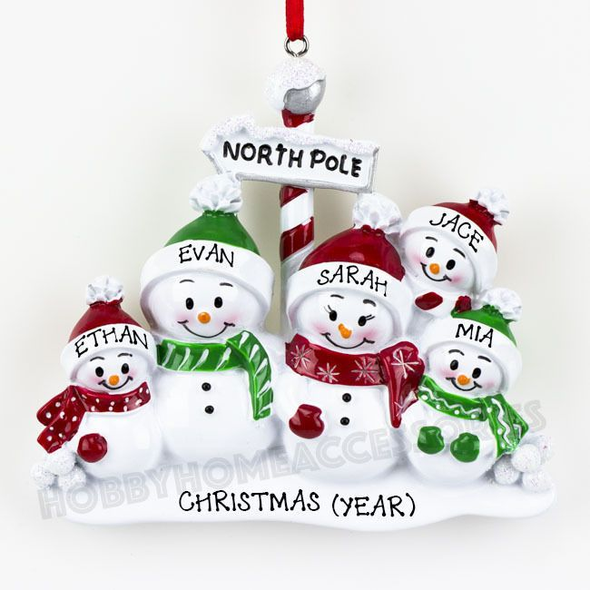 North Pole Family of 5 Personalized Christmas Tree Ornament Holiday ...