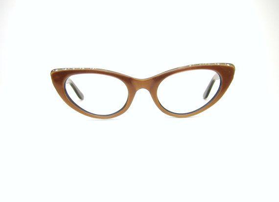 Vintage 50s Cat Eye Eyeglasses Sunglasses Frame Safilo Fiery Bronze