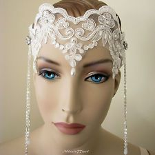 Gatsby Art Nouveau Flapper 1920's Inspired White Lace Wedding Bridal Headband