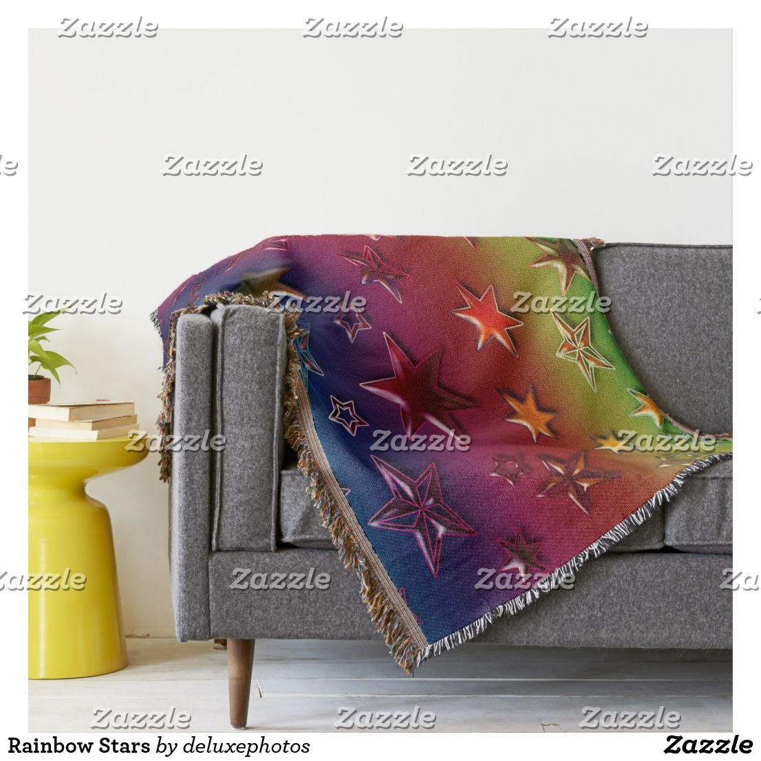 Rainbow Stars Throw Blanket