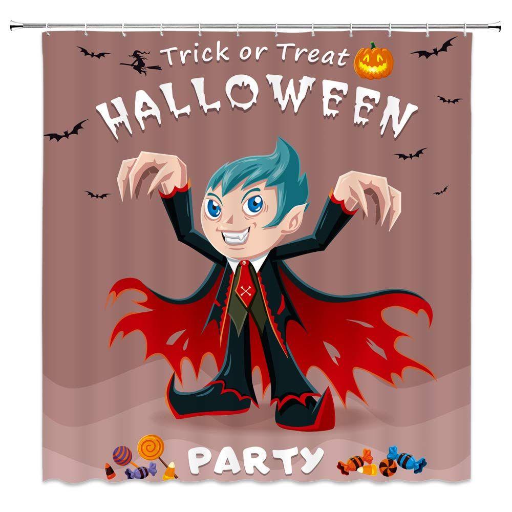 Qianliansheji Shower Curtain Painting Series Little Vampire Horror Bat Pumpkin Lollipop Hello Ween 70x70